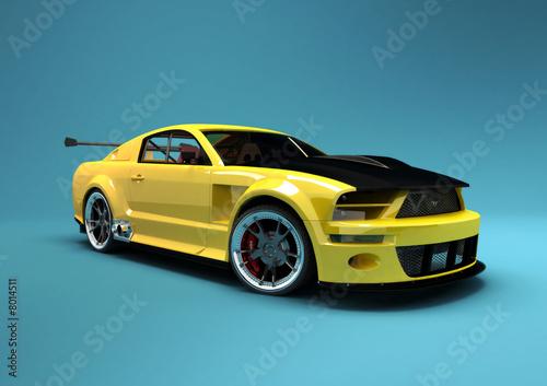 Naklejka premium Żółty samochód wyścigowy