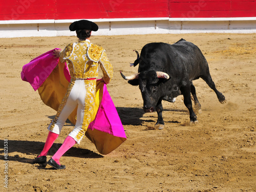 Poster Bullfighting Matador facing Bull