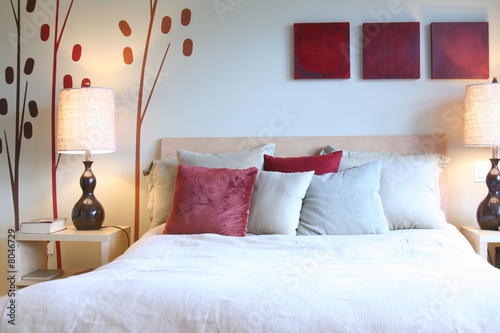 Photo  Contemporary bedroom in red and white.
