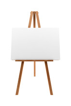 Wooden Easel With Blank Canvas...