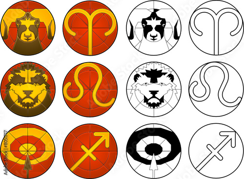 zodiac fire signs - Buy this stock vector and explore similar