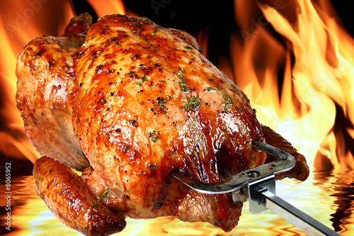 Tuinposter Kip roast chicken