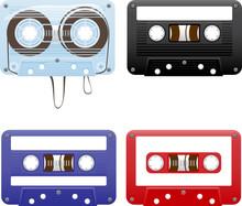 Vector Illustration Of Audio Cassettes