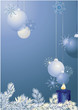 Blue christmas background with baubles and branch.