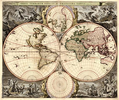 Foto-Stoff bedruckt - Antique world map (von Stamat)