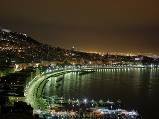 Panel Szklany panorama napoli di notte