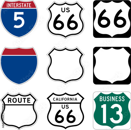 Interstate and US Route signs including famous Route 66 Canvas Print