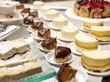 dessert büffet,panna cotta,schokoladenkuchen,biskuitkuchen