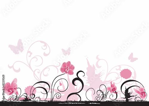 Photo sur Toile Papillons dans Grunge Orchids