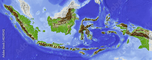 Photo Shaded relief map of Indonesia