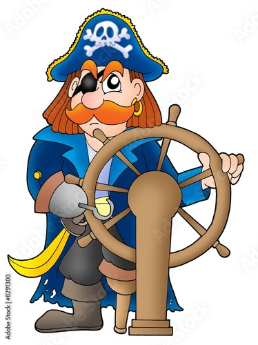 Deurstickers Piraten Pirate captain