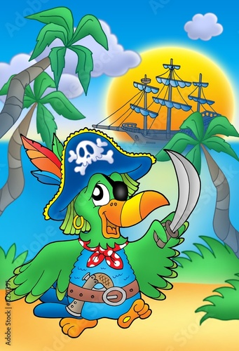 Poster de jardin Pirates Pirate parrot with boat