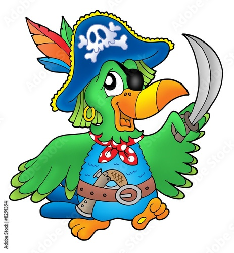 Deurstickers Piraten Pirate parrot