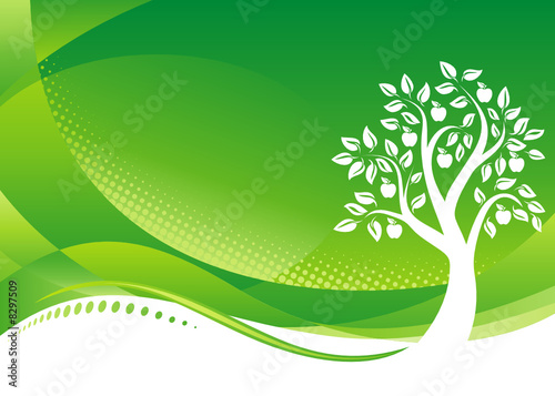 Garden Poster Pistachio Green Tree background, Vector illustration layered file.