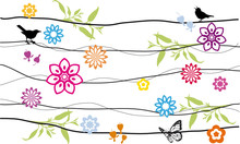 Floral Background Design With Birds