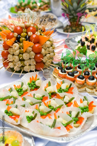 Fotografie, Obraz  Catering buffet style - different light snack and sandwiches