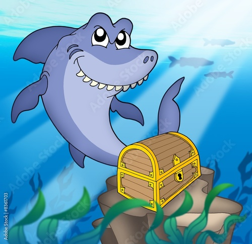 Photo sur Toile Pirates Shark with treasure chest