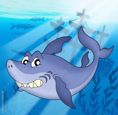 Foto-Plissee - Shark with shipwreck (von Klara Viskova)