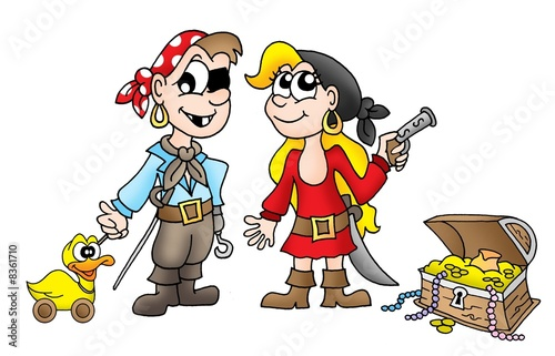 Photo Stands Pirates Pirate kids with duck and treasure