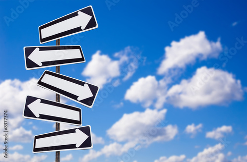 directions signs and sky Fototapet
