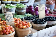 Fruits And Vegetables At An Outdoor Farmer's Market