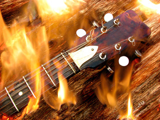 Fototapeta Burning Guitar