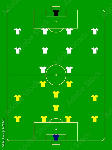 Poster de jardin Route Football field illustration with teams players scheme
