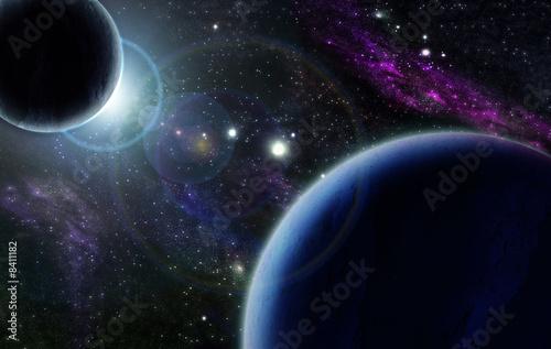 Naklejki kosmos zmierzch-z-dwa-blekitnymi-planetami