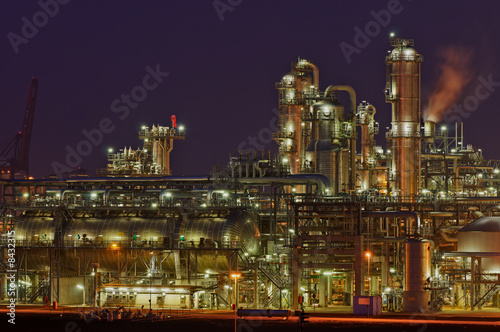 Aluminium Prints Industrial building Chemical production facility at night