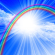 canvas print picture clear blue sky with rainbow