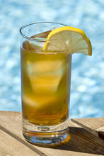 Ice Tea By A Swimming Pool