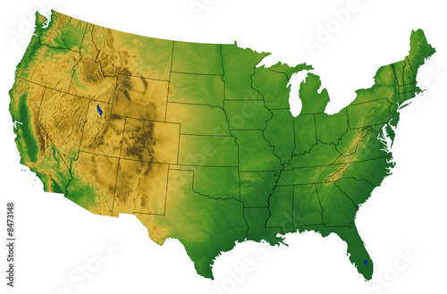 USA map with Terrain Wallpaper Mural