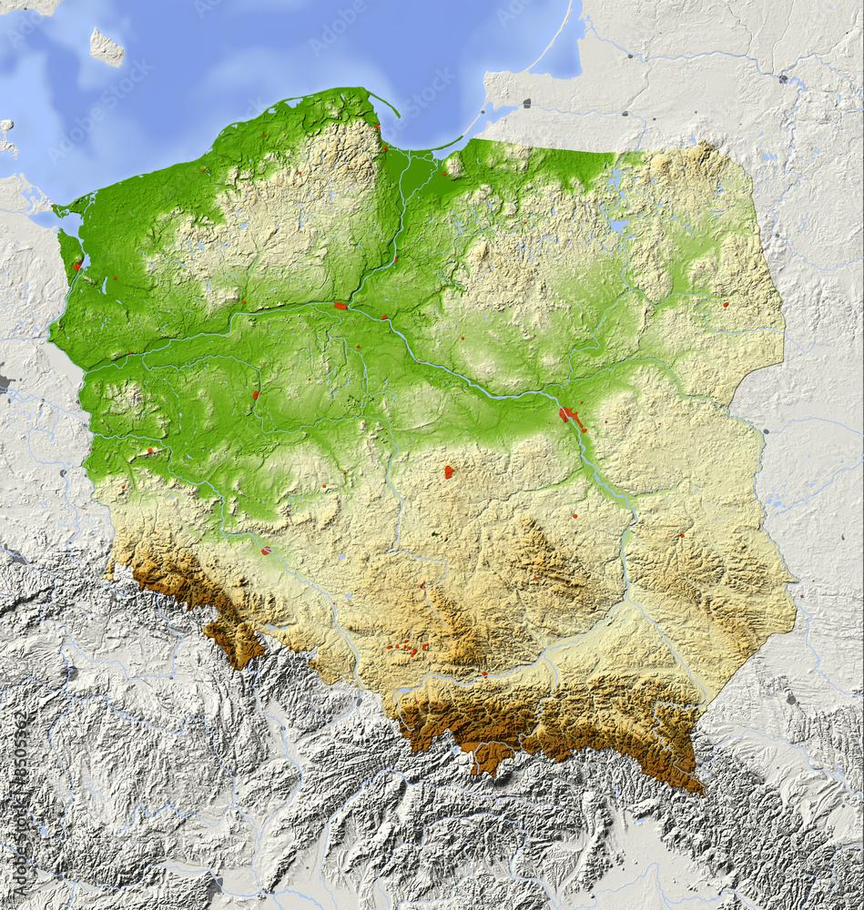 Polska, mapa reliefowa, kolorowana według elewacji