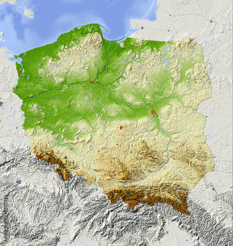 Fotografía  Poland, relief map, colored according to elevation