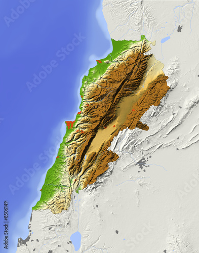 Photo Lebanon, relief map, colored according to elevation