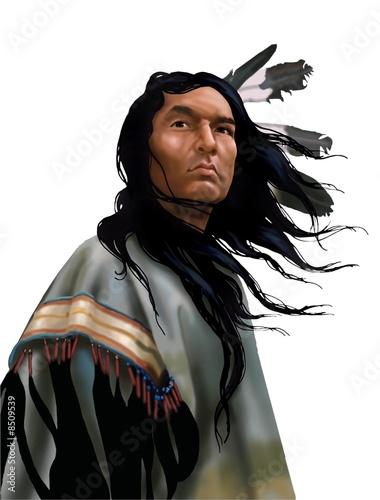 Fotografía Lakota warrior su bianco