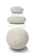 Three white pebbles