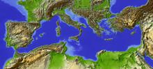 Mediterranean, Relief Map, Col...