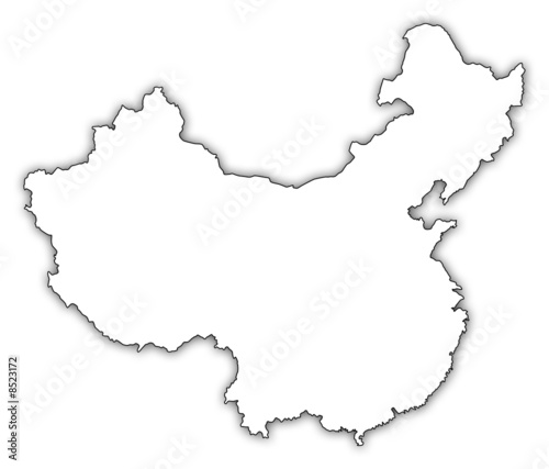 china karte umriss china karte umriss schatten map   Buy this stock illustration and