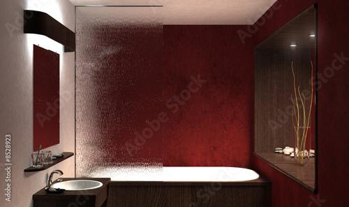 Canvas Salle de bain rouge 1