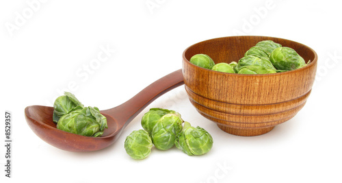 Foto op Canvas Kruiden 2 Brussels sprout in wooden spoon and dish