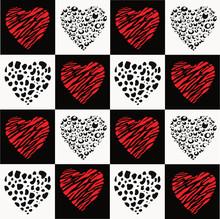 Vektor Schachbrettmuster Design Mit Herzen Schwarz Rot Und Weiß