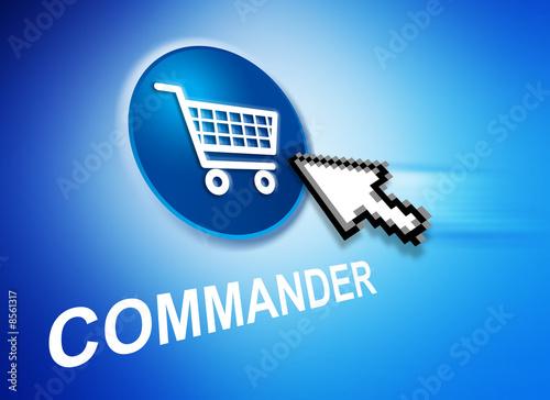 Photo Commander en ligne bleu