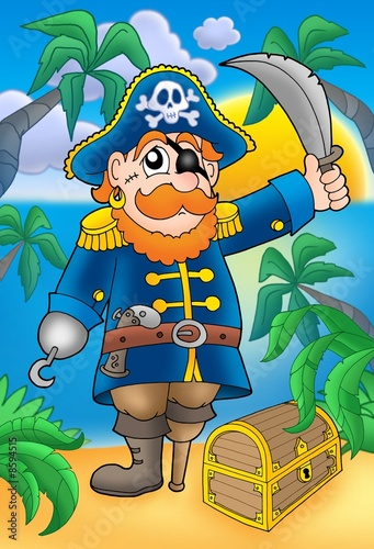 Spoed Fotobehang Piraten Pirate with sabre and treasure chest