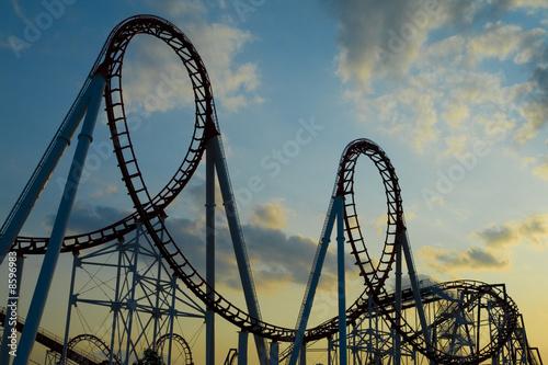 Poster Amusementspark Roller Coaster at Sunset