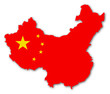canvas print picture - china karte fahne schatten map