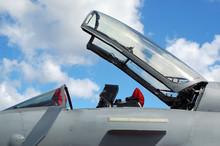 Open Canopy Of An Unmarked Military Jet