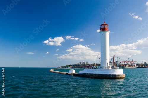 Montage in der Fensternische Leuchtturm Lighthouse in the black sea