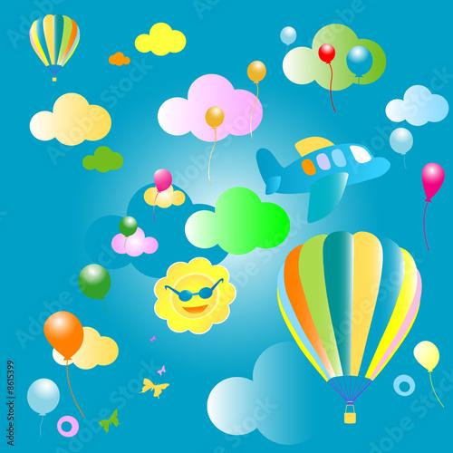 Papiers peints Avion, ballon background for kids, pattern