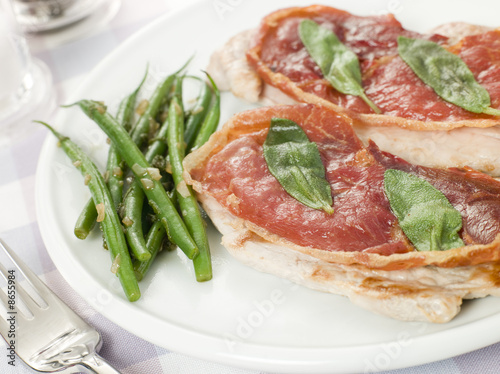 Plakát  Escalope of Veal Saltimbocca with Green Beans